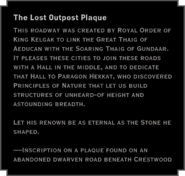 The Lost Outpost Plaque Still Waters