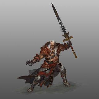Artwork of Sten in Heroes of Dragon Age