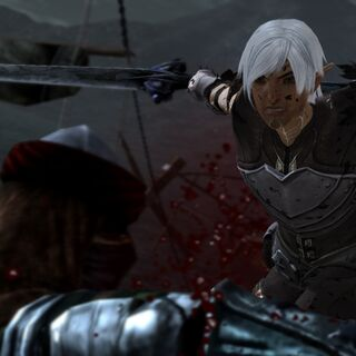 Fenris zabijający bandytę w Dragon Age II