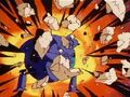 Pilaf blocking a rock attack by goku