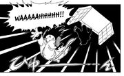 Goku and Android 8 fall through a trap door