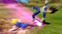 Android 18 attacking Vegeta