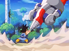 7. Goku battles against the combined might of the Super Mega Cannon Sigma