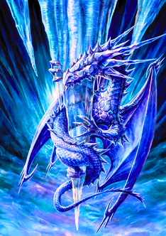 Ice dragon on icicle