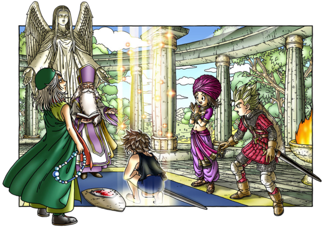 File:DQIX - Hero changing vocation at Alltrades Abbey.png