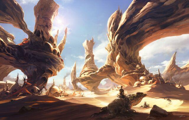 File:1600x1014 13396 News from The Horizon 2d fantasy landscape desert sun lizard picture image digital art.jpg