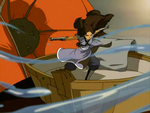 Katara slices balloon