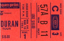 Duran Duran ticket 19 mar 84