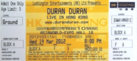 AsiaWorld-Expo Hall 10, Chek Lap Kok, Hong Kong.wikipedia ticket stub duran duran