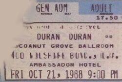 Coconut Grove Ballroom, Ambassador Hotel, Los Angeles, CA, USA. wikipedia duran duran ticket stub wikipedia collection 21 oct 1988 x