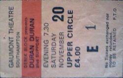 Q Southampton Gaumont ticket stub 20 november 1982 duran duran concert collection wikipedia