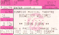 Duran duran ticket 16 July 1993