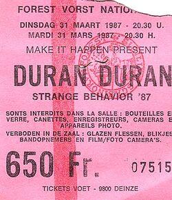 Duran duran ticket belgium 1987-03-31 ticket