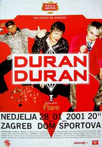 Poster duran duran Dom Sportova, Zagreb, Croatia 2001