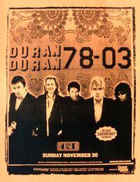 Poster duran duran 30 november 2003 san diego