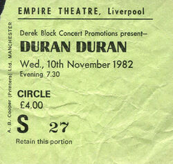 1982 Duran Duran The Rio Tour Concert Ticket Stub Liverpool UK empire theatre wikipedia ticket stub