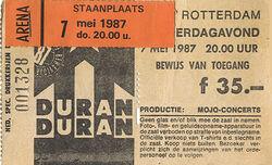 Ticket Duran-Duran-7th May 1987
