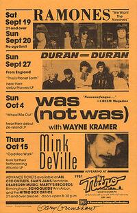 Nitro, 14060 Telegraph Road off jeffries freeway, Redford, MI, usa duran duran 27 september 1981 wikipedia show venue