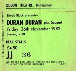 Ticket 26 nov 1982 duran duran