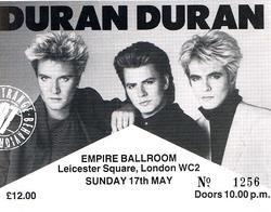 TICKET DURAN DURAN 17 MAY 1987
