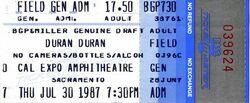 Cal Expo, Sacramento, California (USA) - 30 July 1987 wikipedia duran duran tour stub ticket