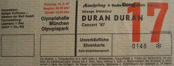 Ticket stub Olympiahalle Munich Germany wikipedia duran duran com twitter