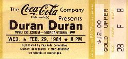 TICKET DURAN DURAN 1984-02-29 ticket