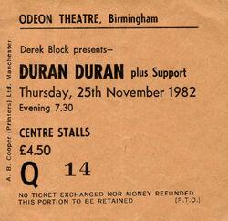Birmingham UK Odeon wikipedia ticket stub duran duran com