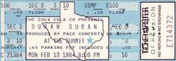 Houston TX (USA), The Summit ticket stub wikipedia duran duran 13 feb 1984