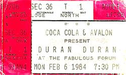 Ticket duran duran 6 feb 84