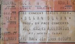 Will Rogers Auditorium, Fort Worth, TX, USA WIKIPEDIA DURAN DURAN TICKET STUB