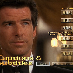 The captions menu