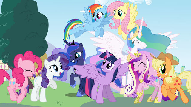 File:Mane 6 and the princesses by caboosinator-d5wdazj.png