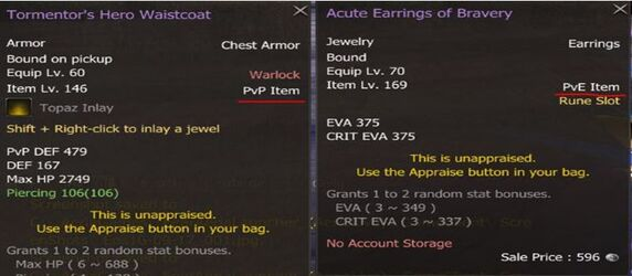 Types of Items - PvE and PvP