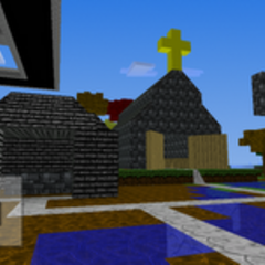 The Blacksmith and and Church of the Medieval Manor (left and right, respectively)