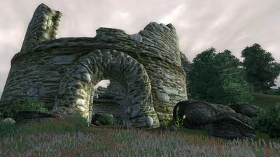 哀愁を感じさせる Castle Alessia (Fort Alessia) の城跡。Oblivion の時代にはすっかりと廃墟になっている