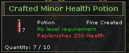 Crafted Minor Health Potion