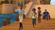 Mateo, Elena,Esteban and Higgens walking