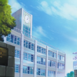 The exterior of the university in the anime.