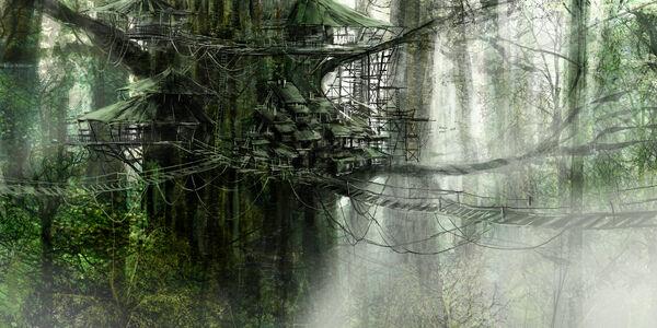 1800x900 460 Tree house 2d fantasy architecture village picture image digital art