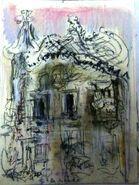 Croquis - Casa Batllo, Barcelona - Pastel - 2015
