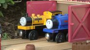 Sir Handel and Duncan in a shed