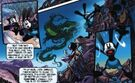 Oswald and Ortensia on Mickeyjunk mountain chased by the blot in the graphic novel
