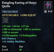 Dangling Earring of Harpy Quills
