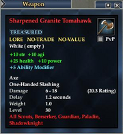 Sharpened Granite Tomahawk