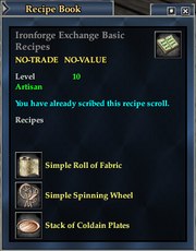 Ironforge Exchange Basic Recipes