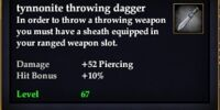 Tynnonite throwing dagger