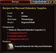 Recipes for Wayward Defenders' Supplies