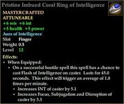 Pristine Imbued Coral Ring of Intelligence
