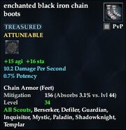 Enchanted black iron chain boots